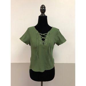 NWT H&M Green Tie Tee